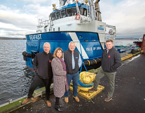 Caldive and The Clydesdale Bank.  (from left to right) George Moodie, Commercial Area Manager for North Scotland, Clydesdale Bank. Sandra Wilkie, Director, Caldive Ltd. Iain Beaton, Managing Director, Caldive Ltd. Graeme Johnston, Commercial Relationship Manager, Clydesdale Bank.