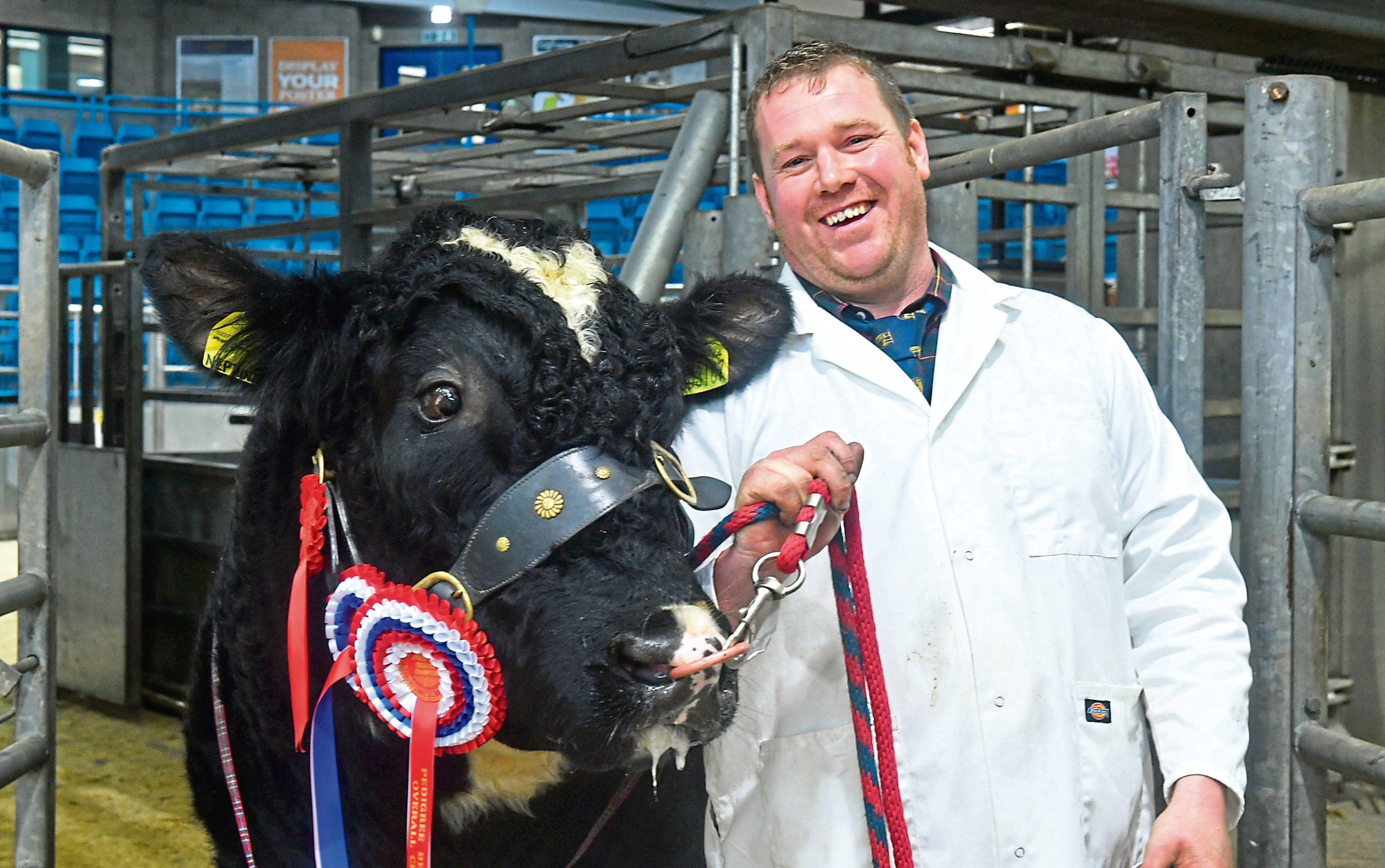 Garry Patterson with the overall bull champion.