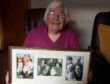 Maureen Thomson with three pictures of five generations of her family over the decades