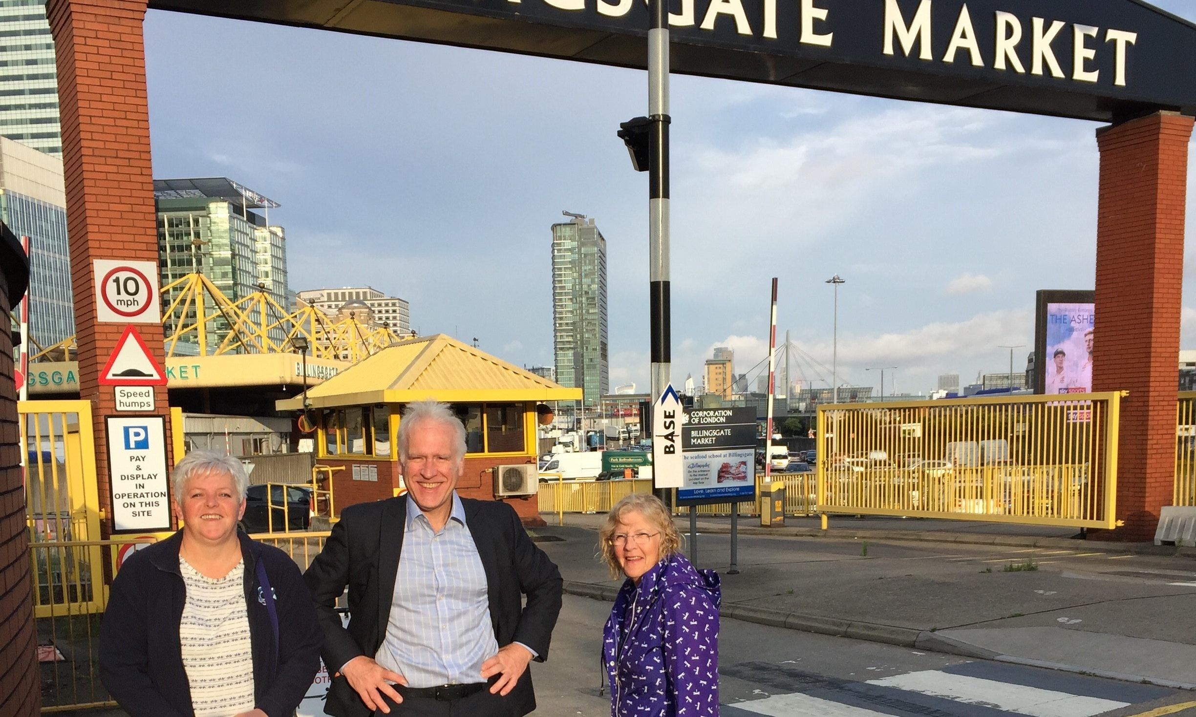 L-R: Donna Fordyce of Seafood Scotland, Peter Cook from Opportunity North East (ONE) and councillor Doreen Mair outside the Billingsgate Seafood School