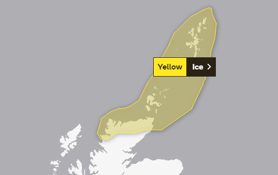 The Met Office has issued a yellow weather warning for ice.