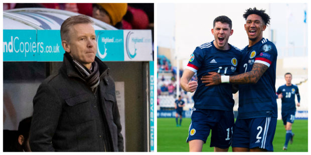 Charlie Christie (left) was back in the dugout on the same day as son Ryan netted for Scotland.
