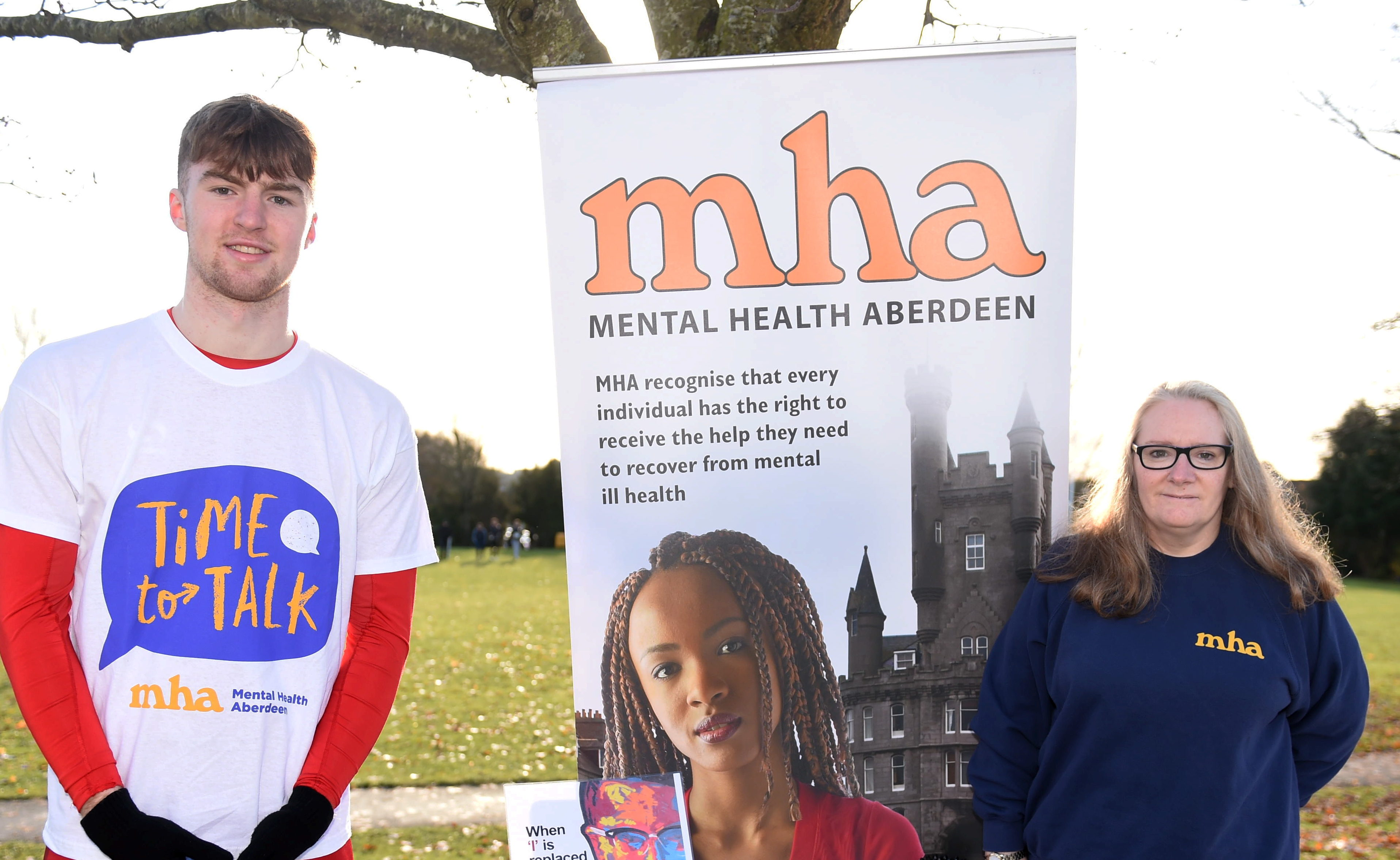 Close Friend of Liam Smith, Kyle Leiper who organised the charity match with Sylvia Hendry of Mental Health Aberdeen who had a stand at the match.  Picture by Paul Glendell