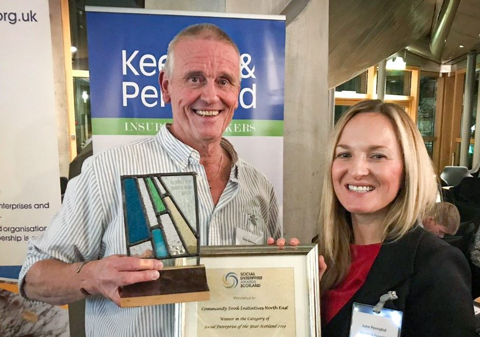 Dave Simmers from Cfine, with June Pennykind from Keegan-Pennykind.