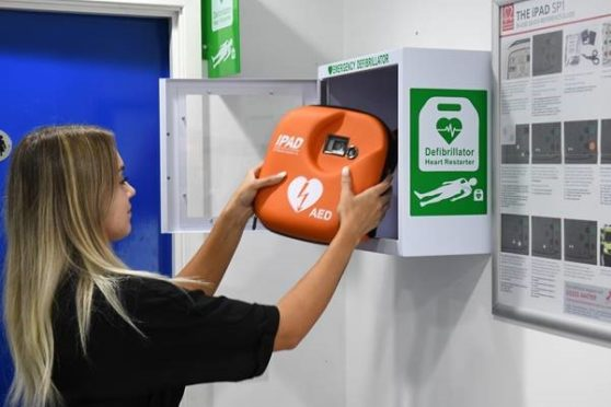 The life-saving defibrillator is located in Nationwide Platforms depot in Aberdeen