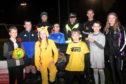 Samuel Main, Sergeant Jim Raeburn, Findlay Harkins and Katie Reekie with kids, from left, Kyle Smith, Liam Duncan, Nicole Watson, Zach Symon, Max MacIver and Daniel Reaper.