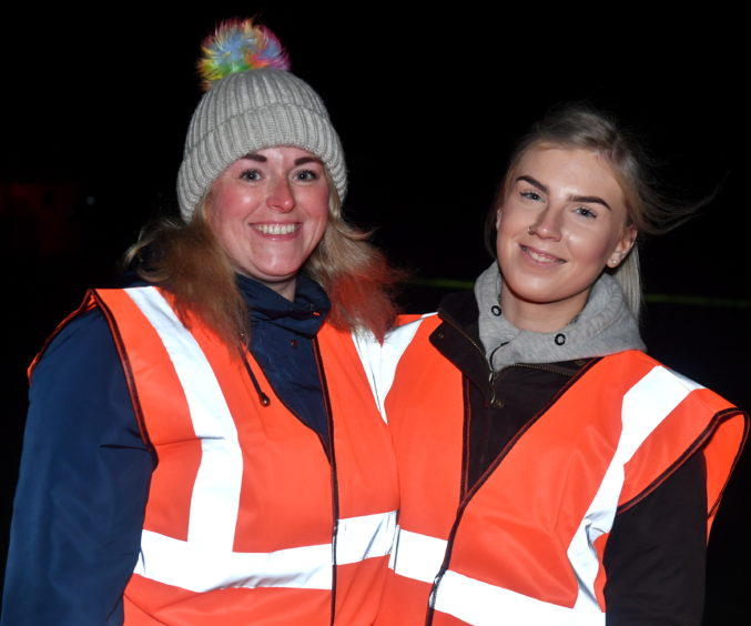 Michelle Edwards and Nicola Taylor at the Stonehaven bonfire and fireworks.