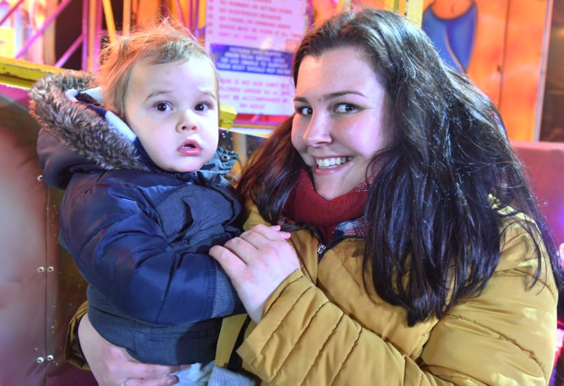 Shannon Logan and son Kieran at the Stonehaven bonfire and fireworks