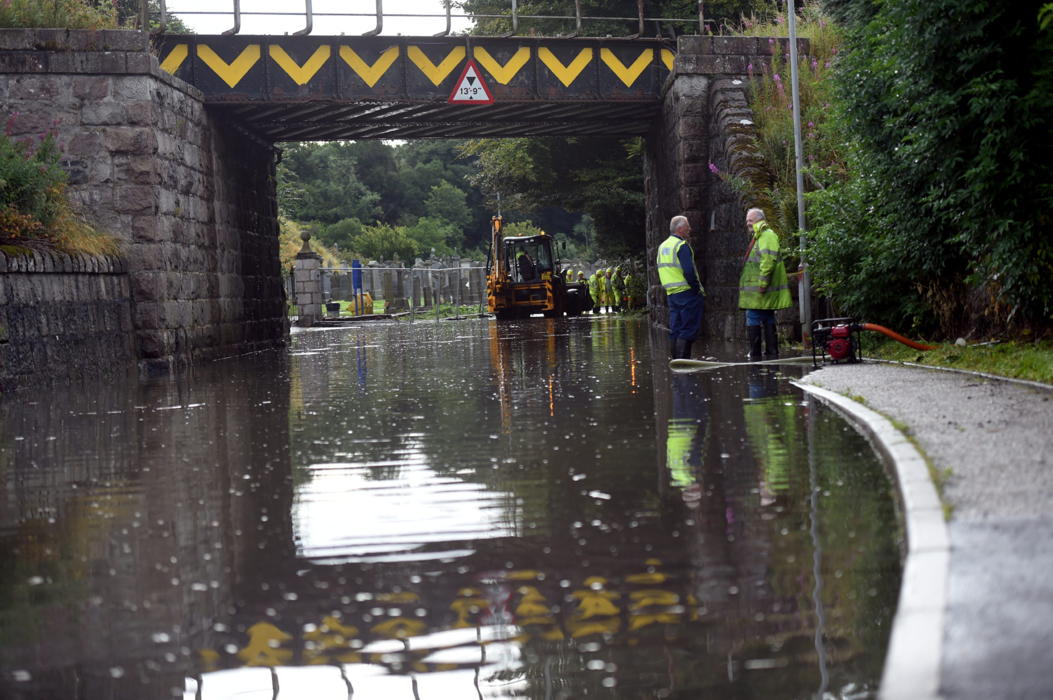 Flooding under the railway bridge on Keithhall Road, Inverurie in 2017.
