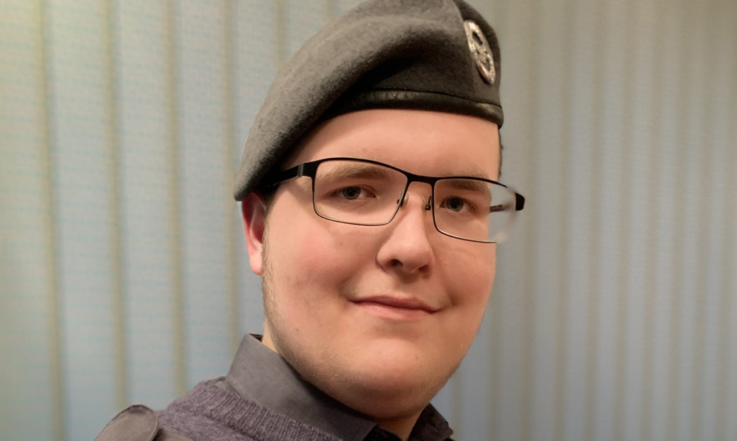 Cadet Corporal Alfie Robertson of 379 (County of Ross) Squadron of the Royal Air Force Air Cadets.