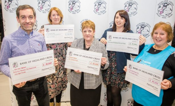 Pictured: James Dunbar from Newstart, Hazel MacDonald from Catraybridge College, Annabelle Mowat from Birchwood Highland, Jenni Campbell from SNAP and Dr Helen Charley from Puffin Hydrotherapy Pool.