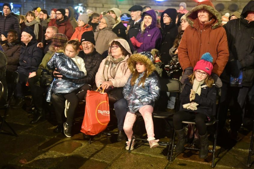 Crowds at the Christmas tree switch-on event in Aberdeen.   Picture by Chris Sumner