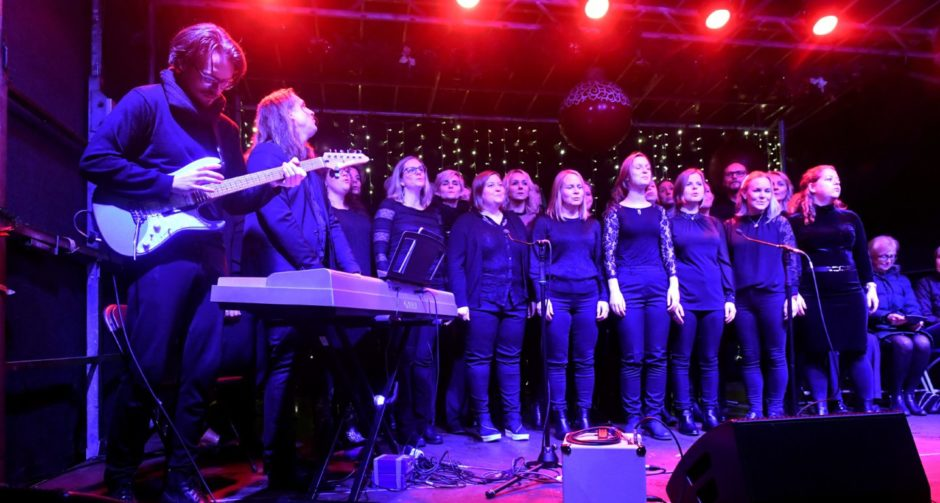 Norway's Gospelkoret Abraham perform at the Christmas tree switch-on event.   Picture by Chris Sumner