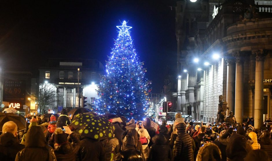 Aberdeen's Winter Festival Christmas Tree Switch-On in Castlegate.