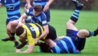 Gordonians' Cameron Howard charges through. Picture by Chris Sumner