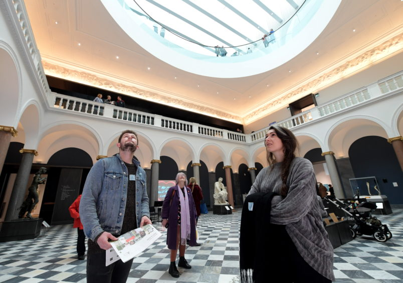 Visitors enjoying the Aberdeen Art Gallery opening day.