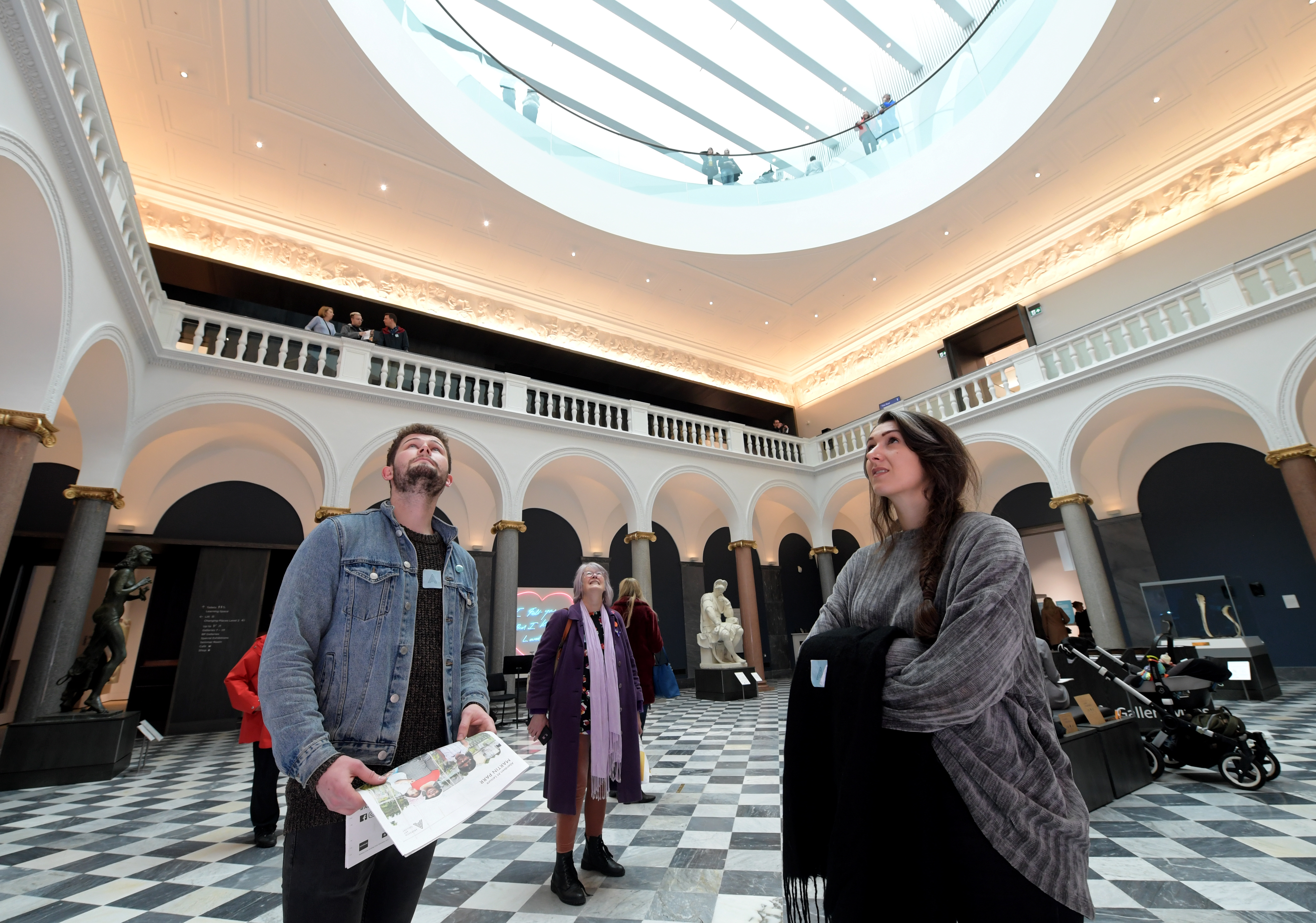 Niall McCulloch, Linda Forsyth and Jodie Lee at the Aberdeen Art Gallery opening day.