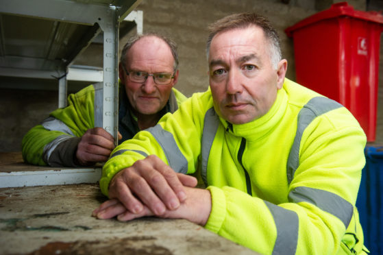 Keith Recycling Centre staff George Burgess and Jim Durkin alerted the police after discovering explosives.