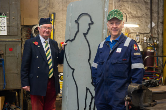 Lord Lieutenant of Moray Grenville Johnston with Moray Council blacksmith Gordon Masson.  Picture by Jason Hedges.