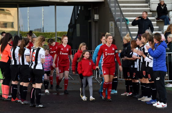 Aberdeen Women receive guard of honour from Dunfermline at ASV last season.  Picture by Kenny Elrick