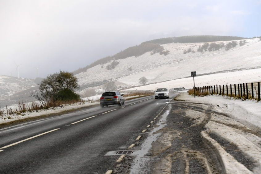 Snow on the A96 near Huntly. Picture by KATH FLANNERY