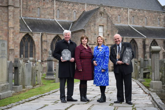 L-R: James Ingleby, lord lieutenant Aberdeenshire, Shona Mutch Co Treasurer and fundraisning campaigner, Fiona Kennedy OBE DL singer and church member and Barney Crockett Lord Provost.