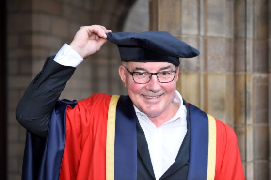 Willie Miller who received his honorary degree at University of Aberdeen's Elphinstone Hall. Picture by Paul Glendell.