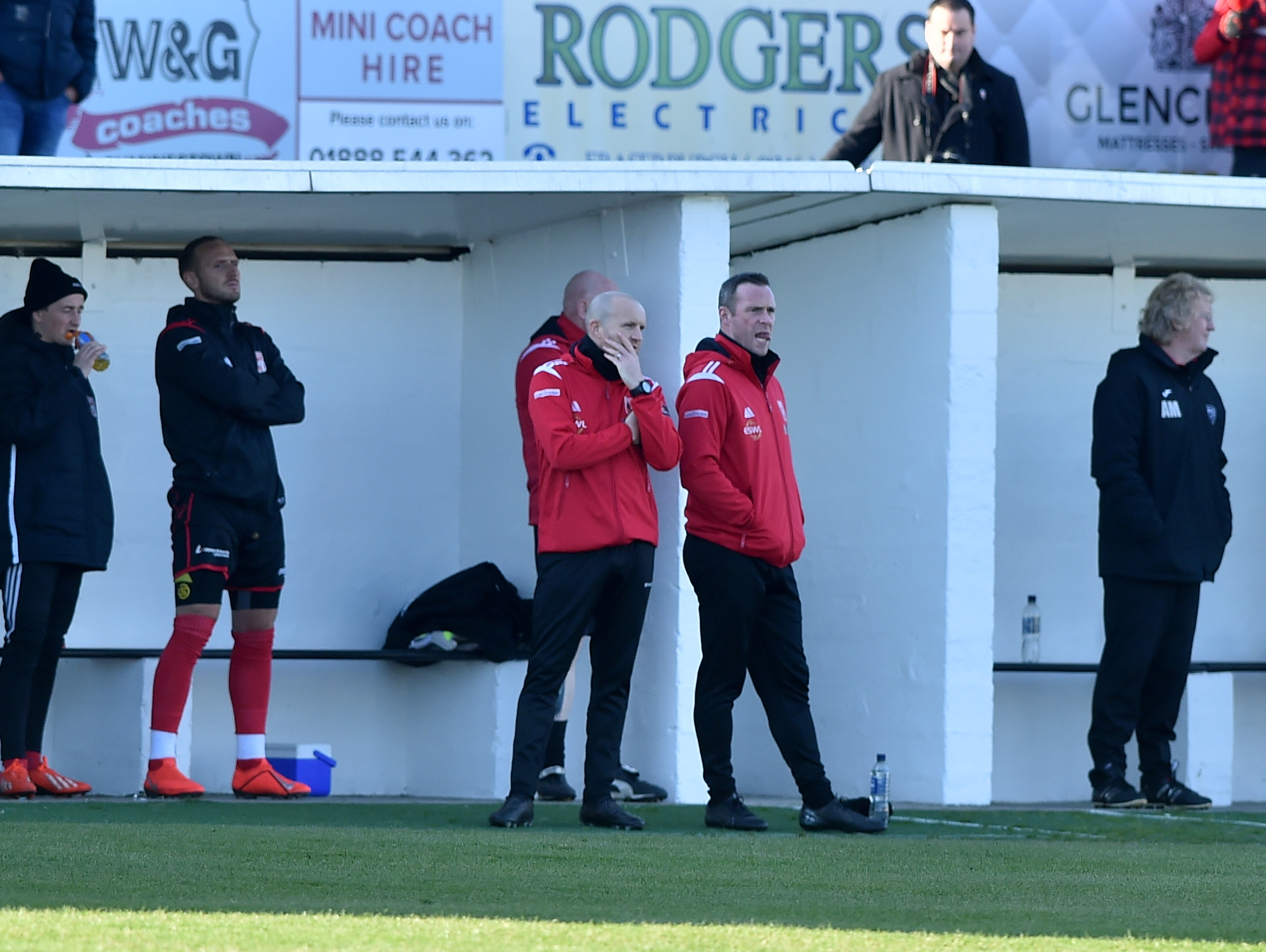 Locos manager Andy Low, centre.  Picture by Scott Baxter