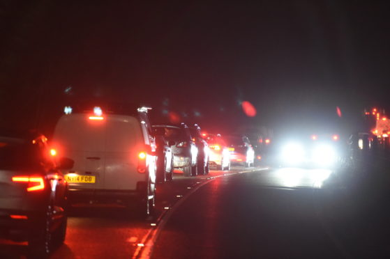 Traffic is currently at a standstill outside Garve.