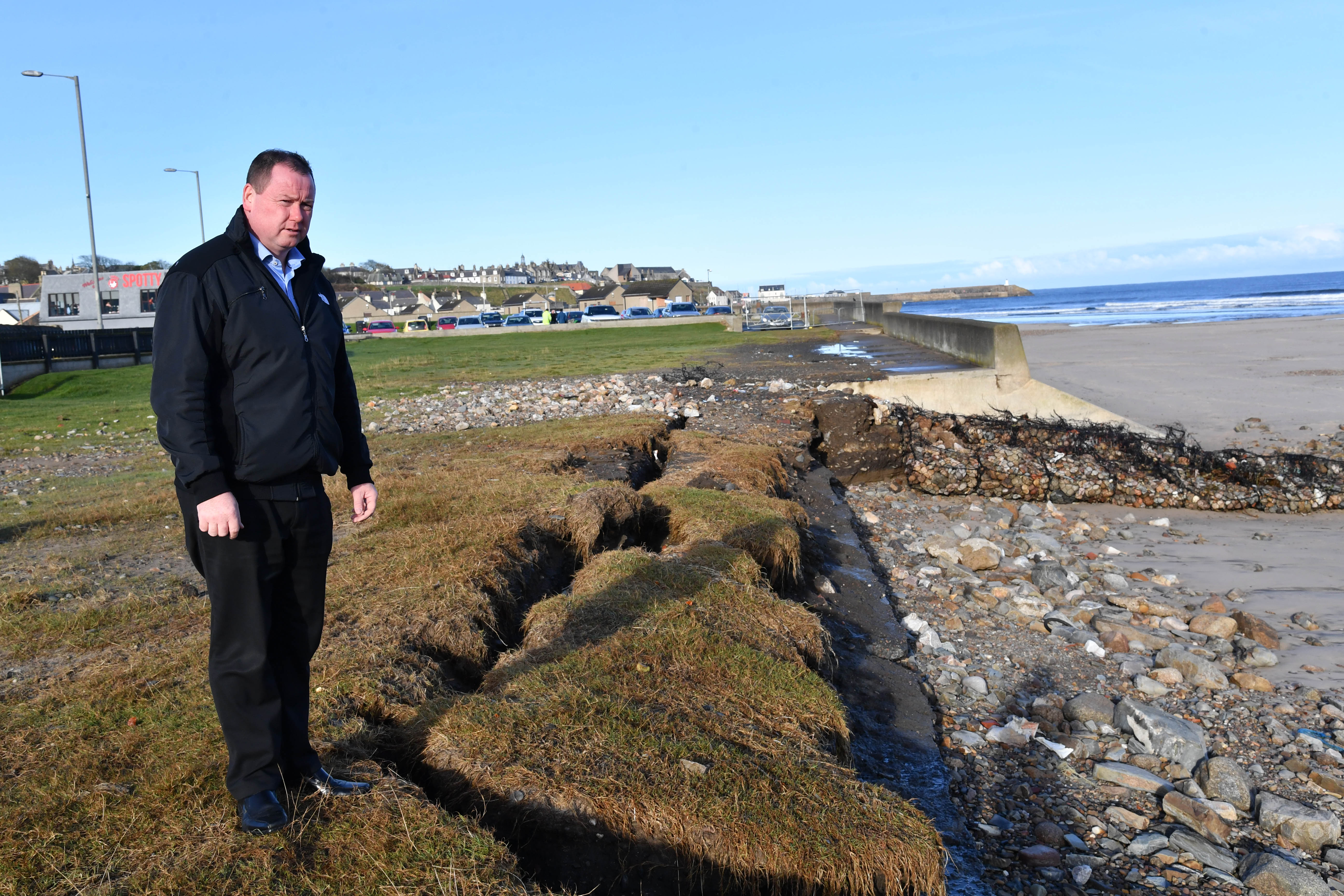 BANFF BUSINESSMAN DES CHEYNE IS CONCERNED WITH THE SPEED OF EROSION AT BANFF BEACH.