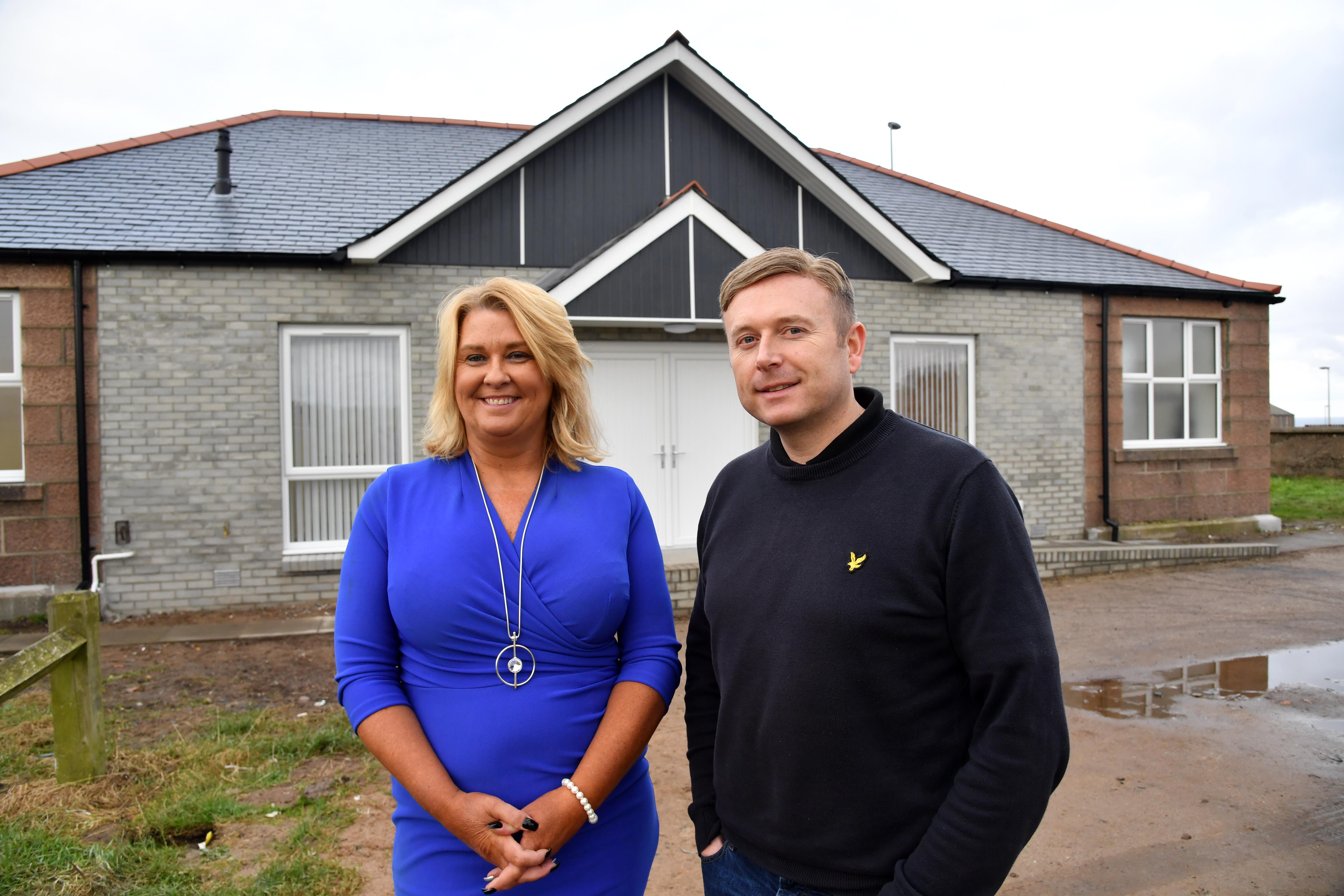 CHAIRMAN DIANE BEAGRIE AND VICE CHAIRMAN GRAHAM MACKIE AT THE NEWLY REFURBISHED PAVILION IN PETERHEAD.