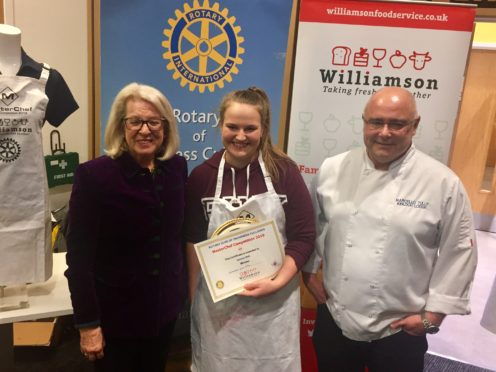 Lauren Bell (centre) with Lady Claire Macdonald and Marcello Tully both from Kinloch Lodge Hotel, Skye.