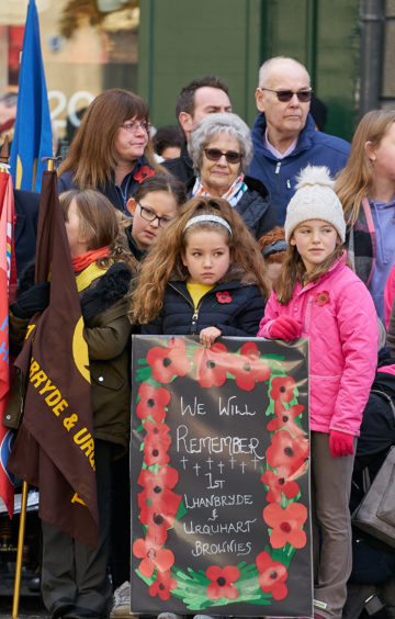 The Lhanbryde and Urquhart Brownies during the Remembrance Sunday service in Elgin