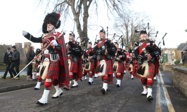 Royal British Legion pipe band led the Remembrance Sunday parade in Inverness in 2019