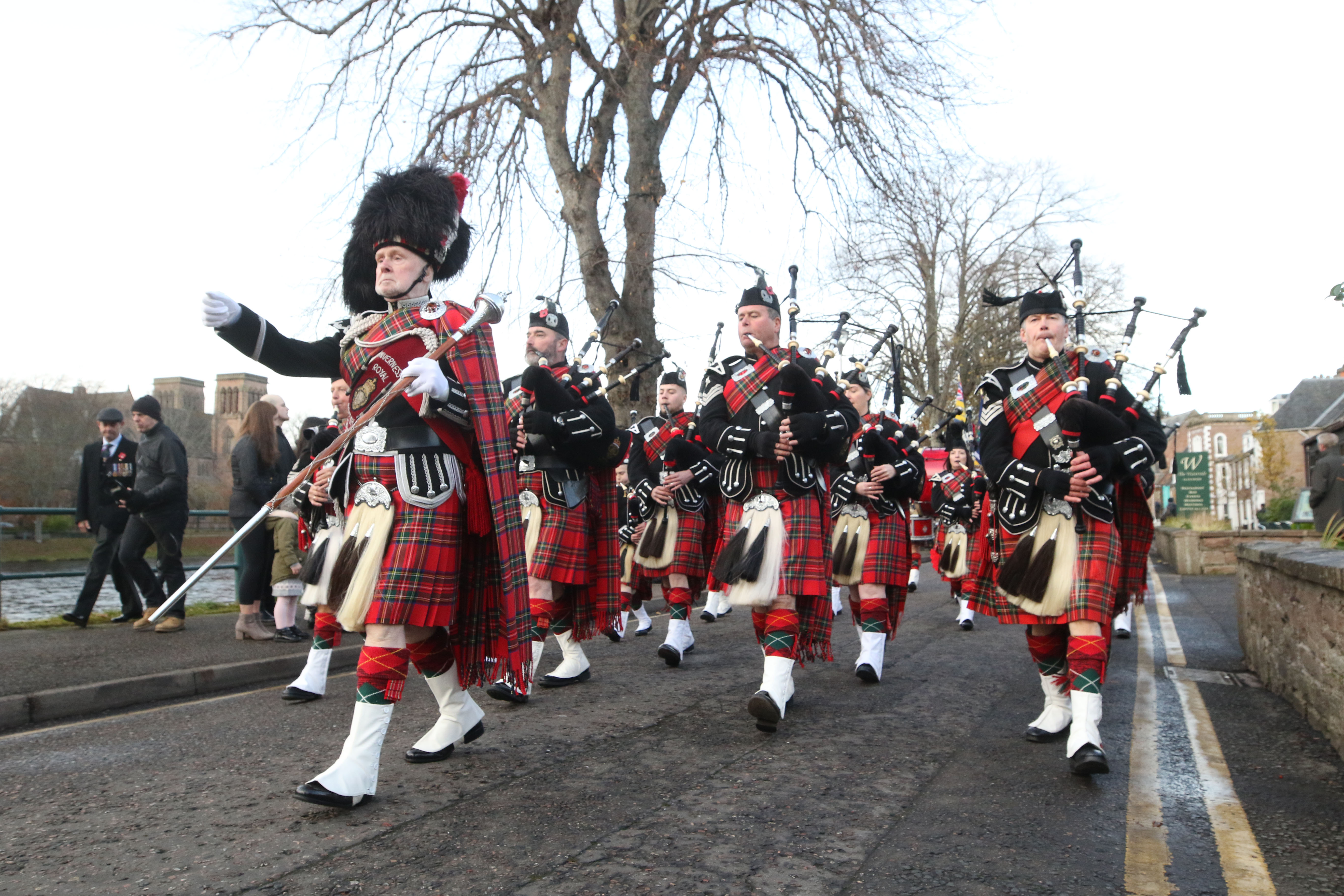 Royal British Legion pipe band led the Remembrance Sunday parade in Inverness
