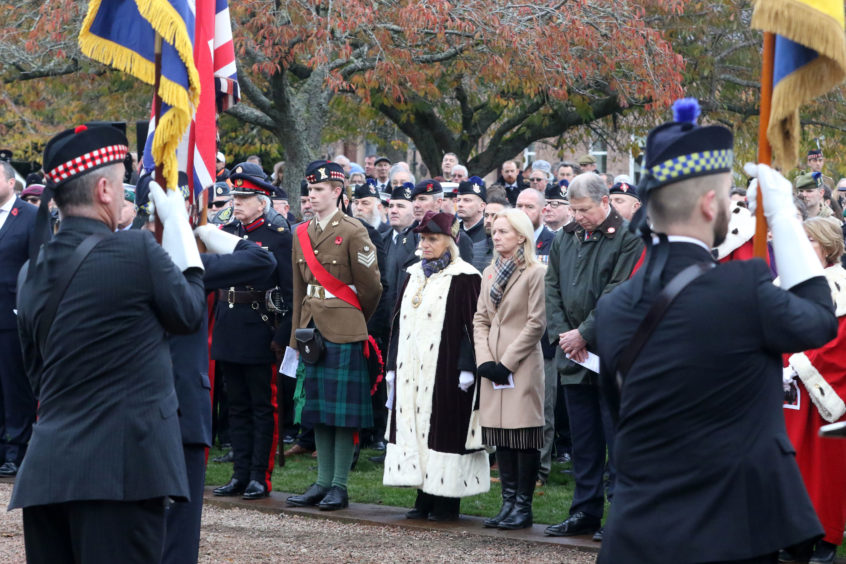 Provost Helen Carmichael (centre) is among those paying respect