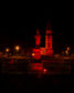 Rhynie Church and Memorial glowing red