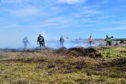 RSPB staff volunteers helping with the Flow Country fire