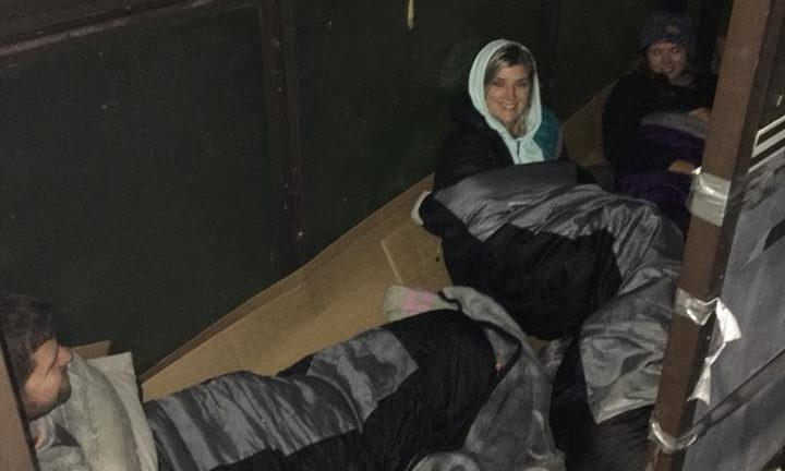 Sarah Jane Reid on a previous sleep out as she bids to raise awareness of homelessness and feed members of the community this Christmas