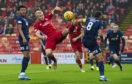 Aberdeen's Curtis Main attempts an overhead kick during the Ladbrokes Premiership match between Aberdeen and Kilmarnock.