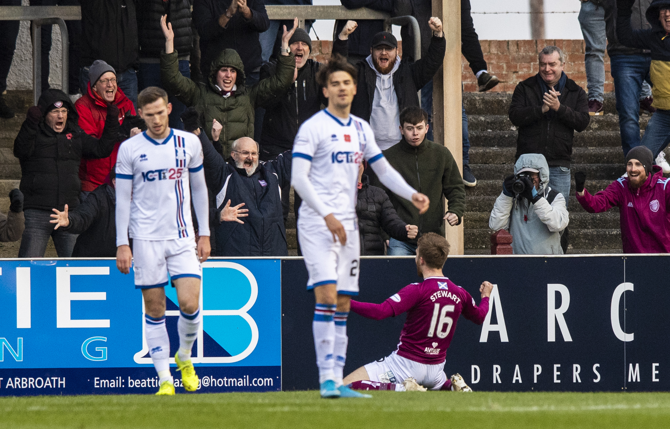Arbroath's Scott Stewart celebrates his goal to make it 1-0 during the Ladbrokes Championship match between Arbroath and Inverness Caley Thistle.