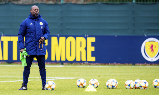 Scotland assistant coach Alex Dyer during a training session at Oriam on November 12, 2019.