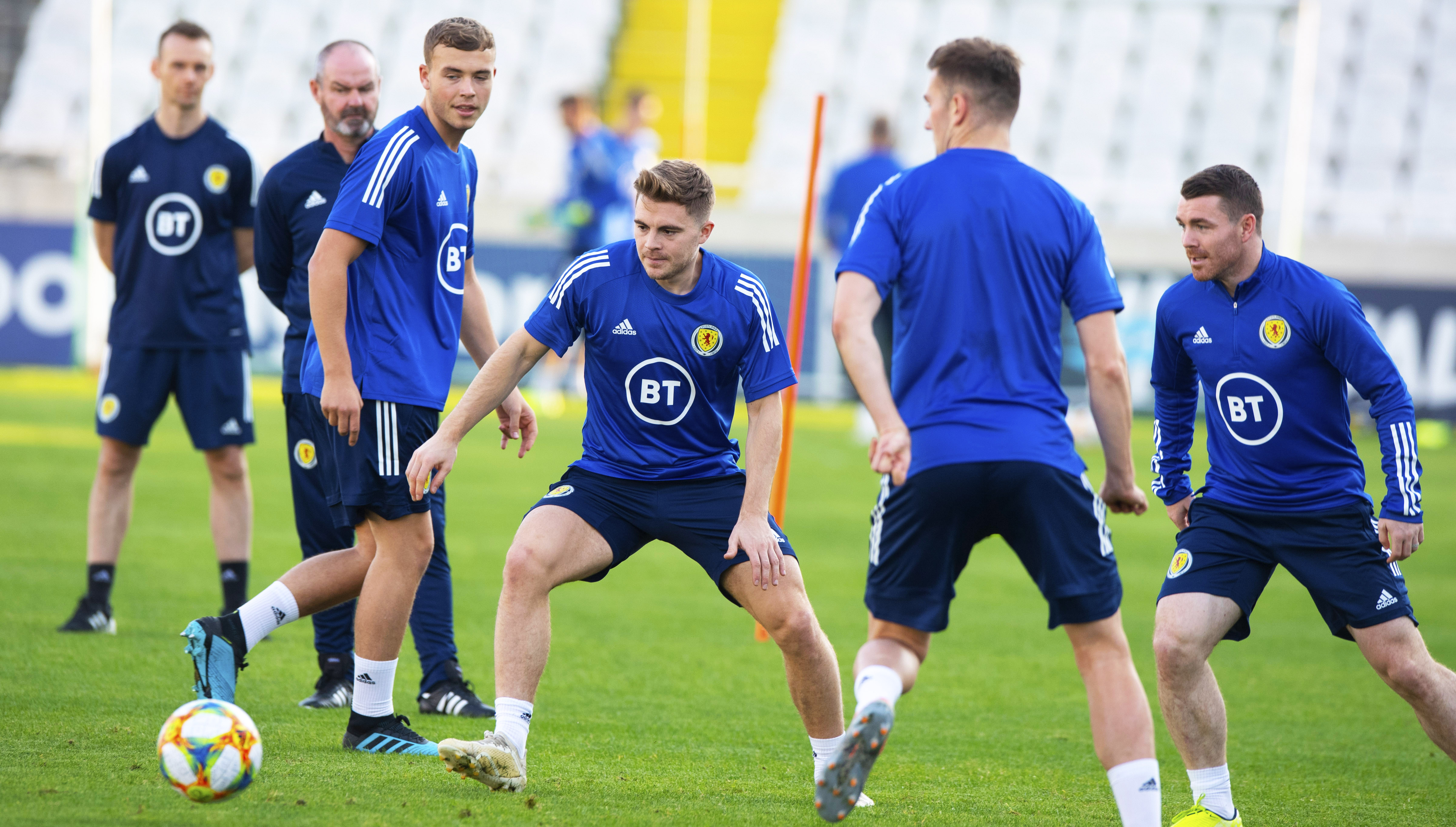 Scotland's James Forrest during a training session at The GSP Stadium.