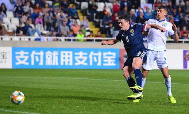 John McGinn strikes to make it 2-1 to Scotland during the UEFA European qualifier between Cyprus and Scotland, at the GSP Stadium, on November 16, 2019, in Nicosia, Cyprus.
