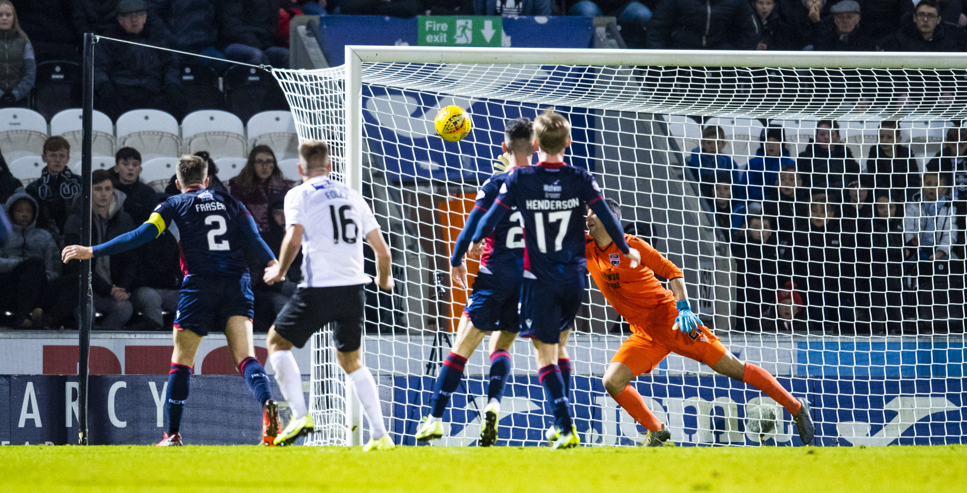 Sam Foley scores to make it 2-1 during the Ladbrokes Premiership match between St. Mirren and Ross County.