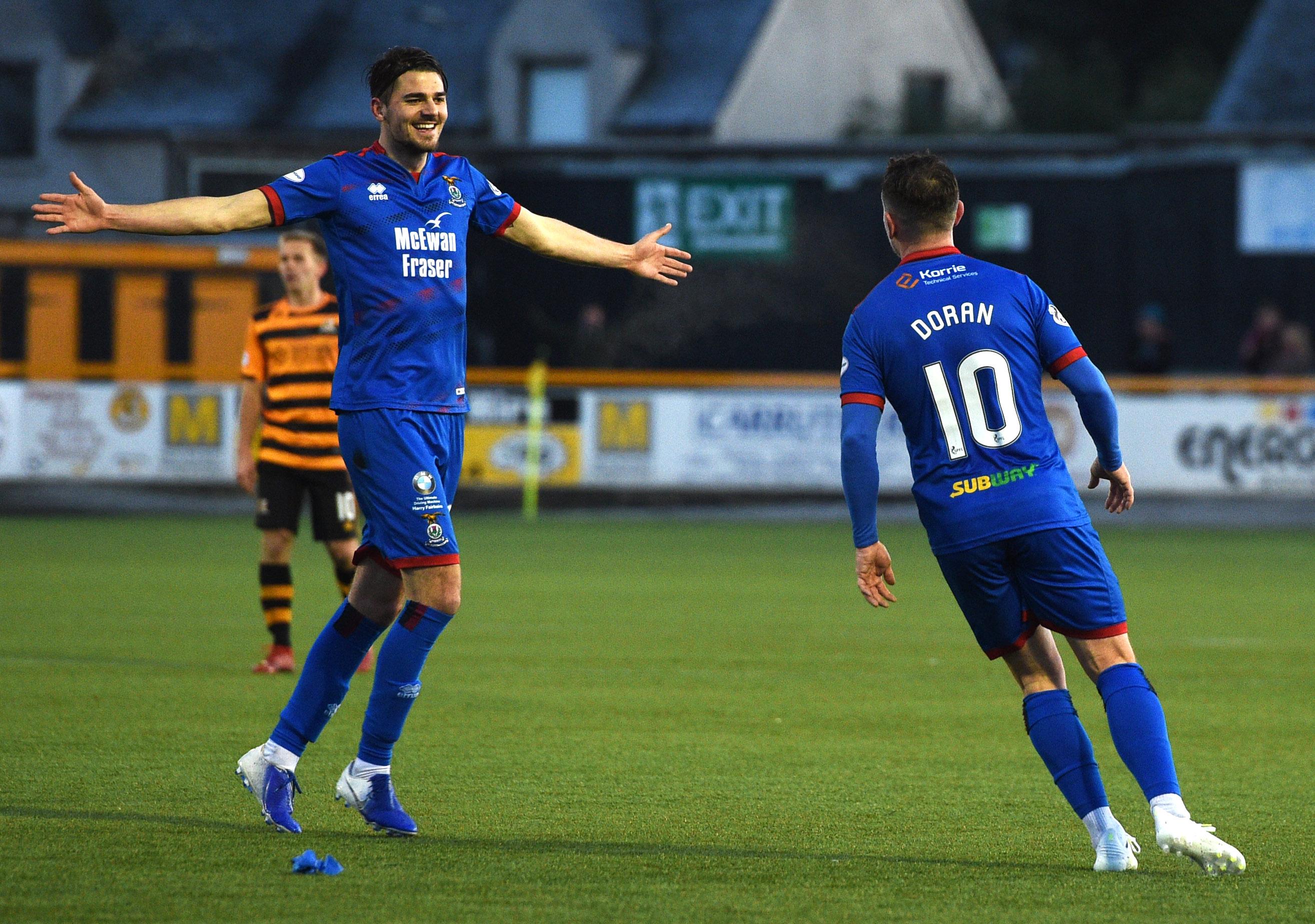 Charlie Trafford and Aaron Doran celebrate the latter's goal against Alloa