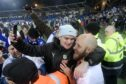 Teemu Pukki of Finland celebrates with fans after their victory in the Euro 2020 Group J qualifying soccer match between Finland and Liechtenstein in Helsinki, Finland, on Friday.