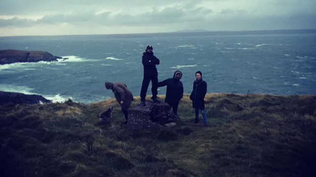 Crew members on the Isle of Lewis for Wise Blood filming.