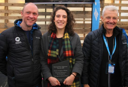 Richard Leafe from the Lake District National Park Authority, Gabrielle Flinn from the winning RIC project and TV presenter Paul Rose.