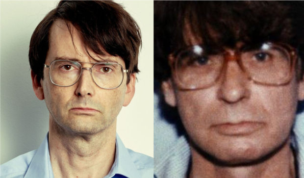 David Tennant as the north-east serial killer, left, and Dennis Nilsen, right